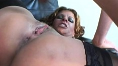 Big breasted cougar in black stockings getting her holes fucked hard