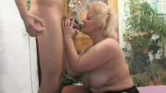 Cute mature female with chubby tits Vicky is pounded by young stud
