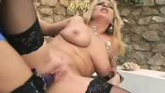 Blonde mommy loves getting her cunt filled with toys and peckers