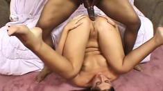 Latina toys her ass, does sixty-nine and takes his big rod up her ass and eats cum