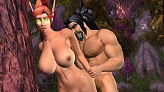 Big-breasted Redhead Elf Gets Plowed By A Hunky Bearded Superstud