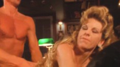 Busty blonde milf in black stockings Olivia gets nailed by Peter North
