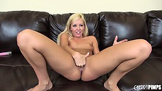 She's slamming her toy in and out, then fingers her clit and slides a finger in