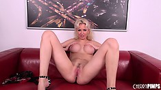 Gorgeous blonde Margo Russo shows off her perfect curvy body and her wild side