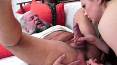 Horny older dude begs a young brunette to play with his butt