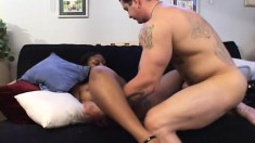 Chubby ebony with big hooters trades head and gets dicked by a white one