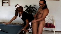 Naughty ebony maid with sexy long legs gets pounded hard by her boss