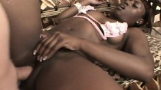 Stacked black hottie Jada Fire works her fiery ass on a big white cock