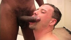 Beautiful white gay boy with a hot ass struggles with a big black dick