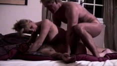 Stacked blonde housewife Chante enjoys a double drilling on the bed