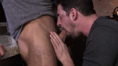 Sexy guy puts his hot lips to work before getting his ass banged deep