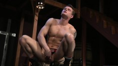 Ripped inked buck gives in to temptation and uses a dildo for fun