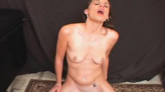 Hot brunette wife with sexy legs Danica enjoys strong sybian orgasms
