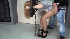 Fetish BDSM brunette sucking and fucking
