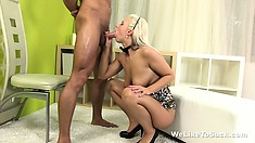 Nasty little blond sucks his cock, licks his balls and asshole