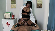 Brunette nurse grabs his big cock and then sits down on his face