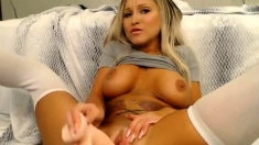Busty blonde solo squirt and creamy toying