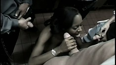 Giving a chocolate beauty more white meat than she can handle