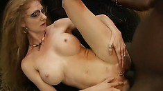 Slutty secretary gets her porcelain butt slammed by her hung black boss