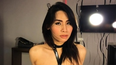 Tied up small dick Asian shemale blowjob and ass fucking