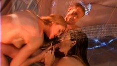 Two babes do sixty-nine, then get a cock for a hot, action packed threesome