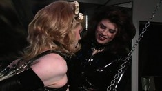 Nasty transvestite guy gets bound and takes some penis punishment