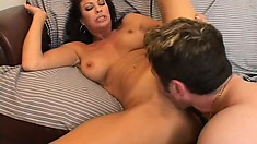 Latin cougar focuses on his young cock, and seduces him by getting naked