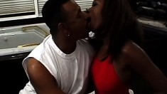 Ebony lifeguard cutie saves his chocolate cock from drowning in her cunt