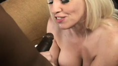 Sexy blonde MILF taking all of his hard black cock in every hole