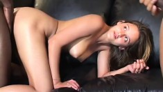 Cock hungry college babe needs both of these black dicks to fill her