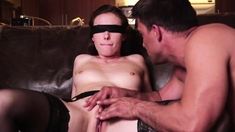 Blindfolded milf deepthroats a strangers cock and is banged